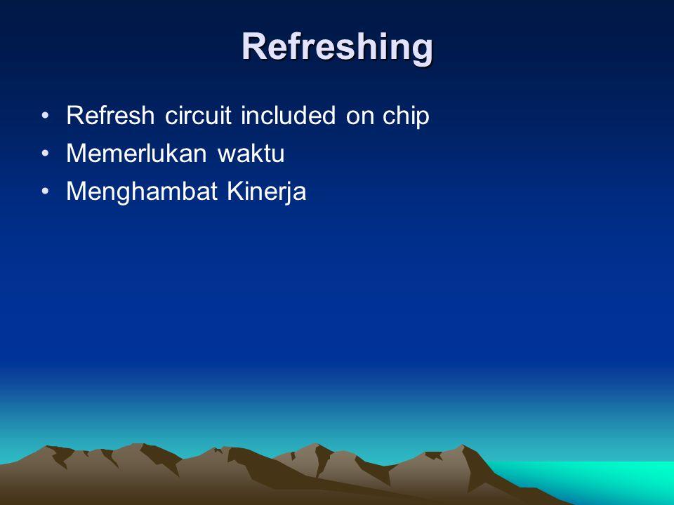 Refreshing Refresh circuit included on chip Memerlukan waktu Menghambat Kinerja