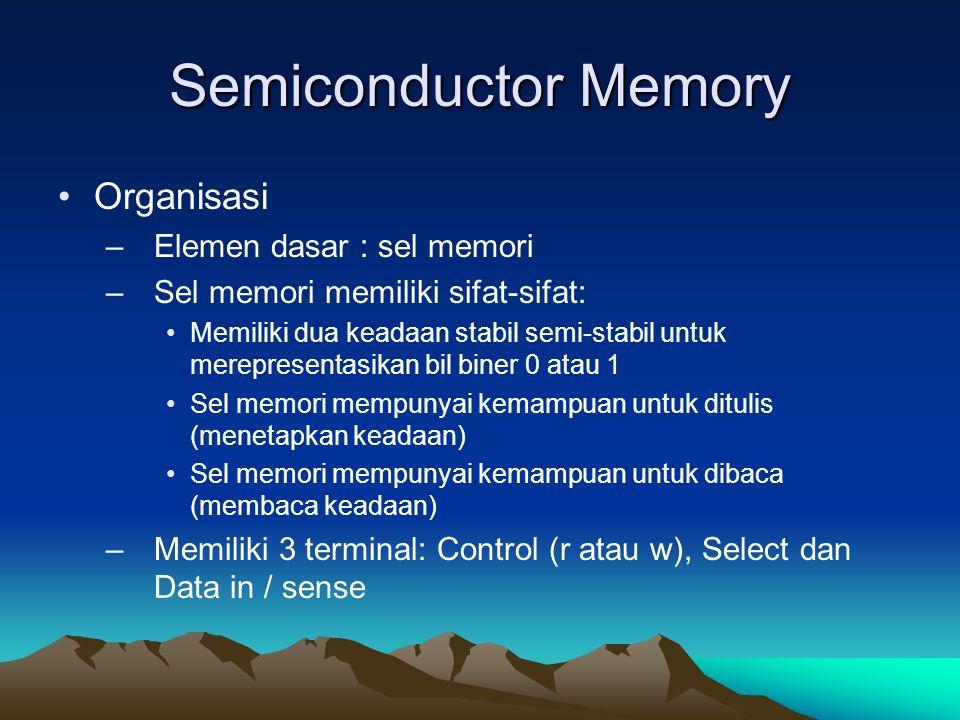 Semiconductor Memory Organisasi –Elemen dasar : sel memori –Sel memori memiliki sifat-sifat: Memiliki dua keadaan stabil semi-stabil untuk merepresentasikan bil biner 0 atau 1 Sel memori mempunyai kemampuan untuk ditulis (menetapkan keadaan) Sel memori mempunyai kemampuan untuk dibaca (membaca keadaan) –Memiliki 3 terminal: Control (r atau w), Select dan Data in / sense