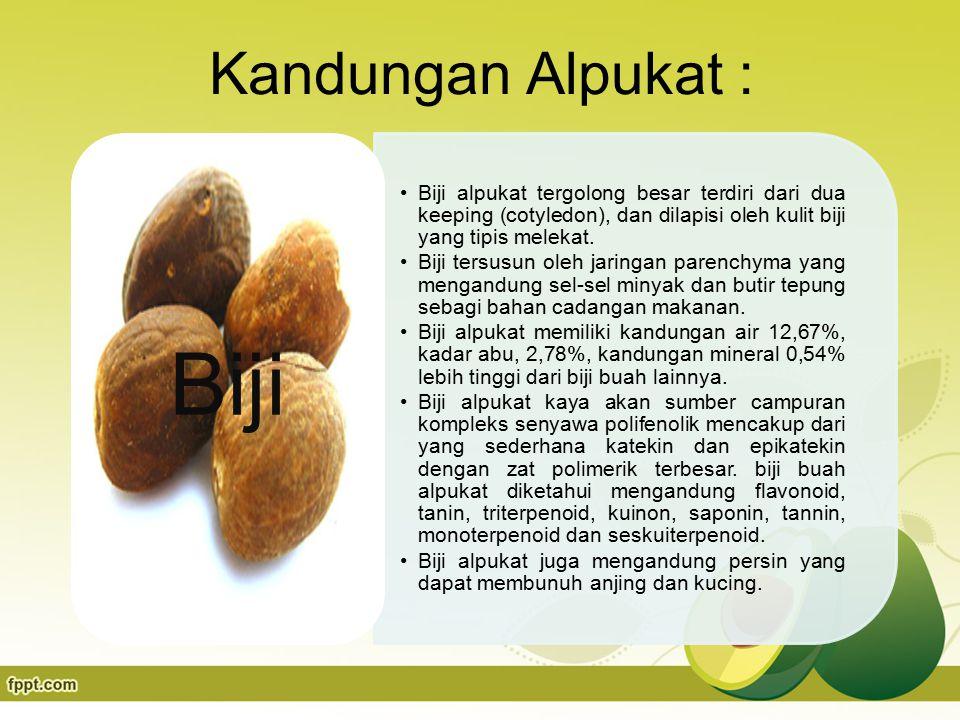 Kandungan Alpukat : Biji alpukat tergolong besar terdiri dari dua keeping (cotyledon), dan dilapisi oleh kulit biji yang tipis melekat.
