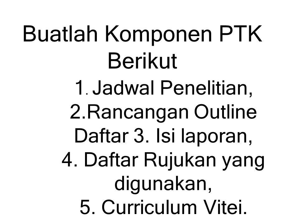 1.Jadwal Penelitian, 2.Rancangan Outline Daftar 3.