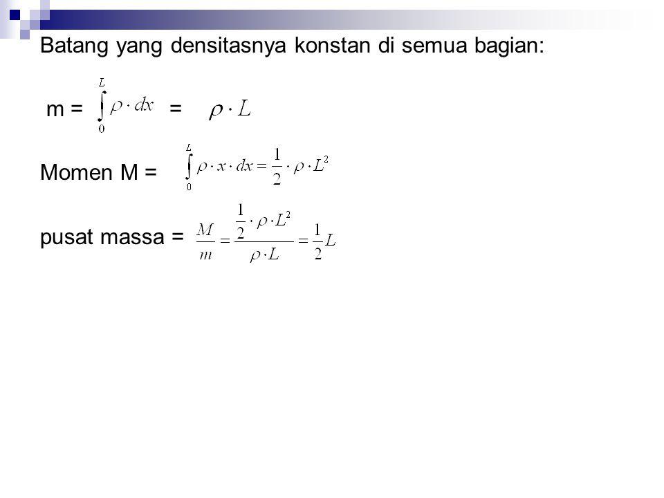 Batang yang densitasnya konstan di semua bagian: m = = Momen M = pusat massa =
