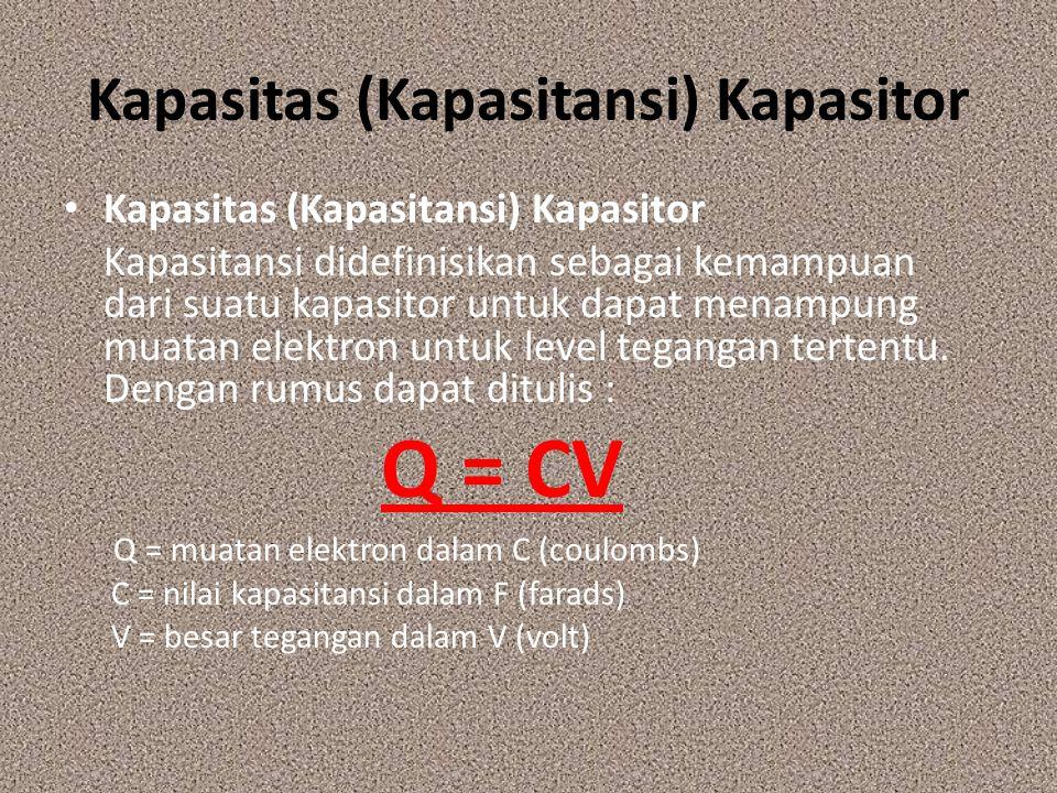 Kapasitas (Kapasitansi) Kapasitor Kapasitansi didefinisikan sebagai kemampuan dari suatu kapasitor untuk dapat menampung muatan elektron untuk level t