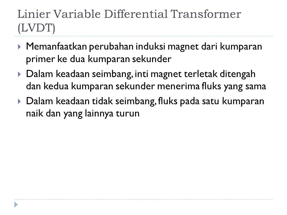 Linier Variable Differential Transformer (LVDT)  Memanfaatkan perubahan induksi magnet dari kumparan primer ke dua kumparan sekunder  Dalam keadaan seimbang, inti magnet terletak ditengah dan kedua kumparan sekunder menerima fluks yang sama  Dalam keadaan tidak seimbang, fluks pada satu kumparan naik dan yang lainnya turun
