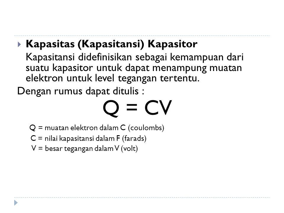  Kapasitas (Kapasitansi) Kapasitor Kapasitansi didefinisikan sebagai kemampuan dari suatu kapasitor untuk dapat menampung muatan elektron untuk level tegangan tertentu.