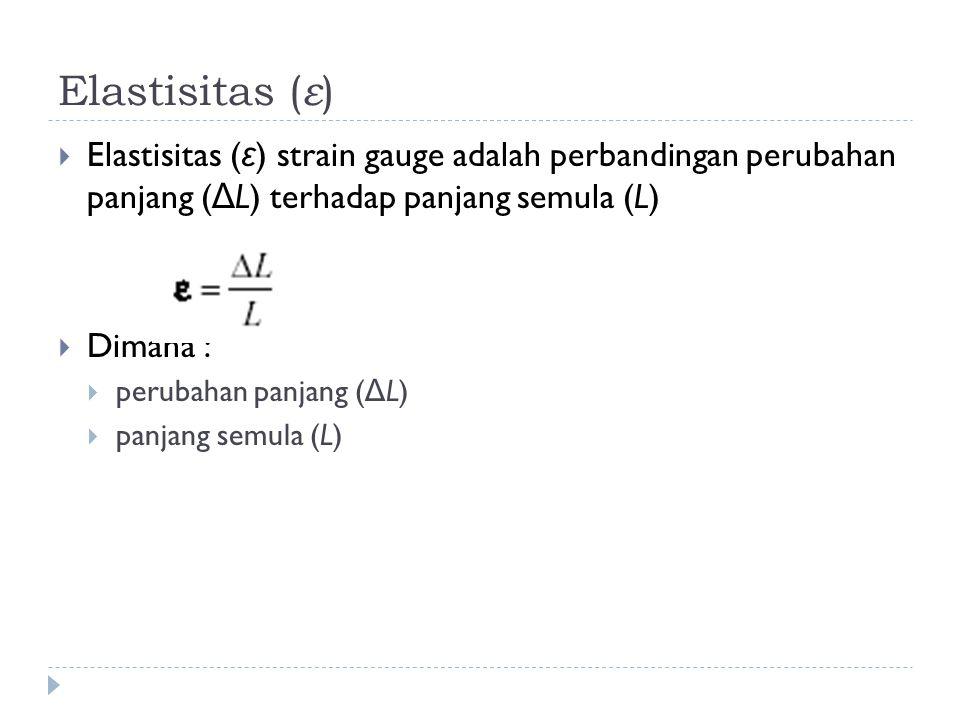 Elastisitas ( ε )  Elastisitas ( ε ) strain gauge adalah perbandingan perubahan panjang ( Δ L) terhadap panjang semula (L)  Dimana :  perubahan panjang ( Δ L)  panjang semula (L)