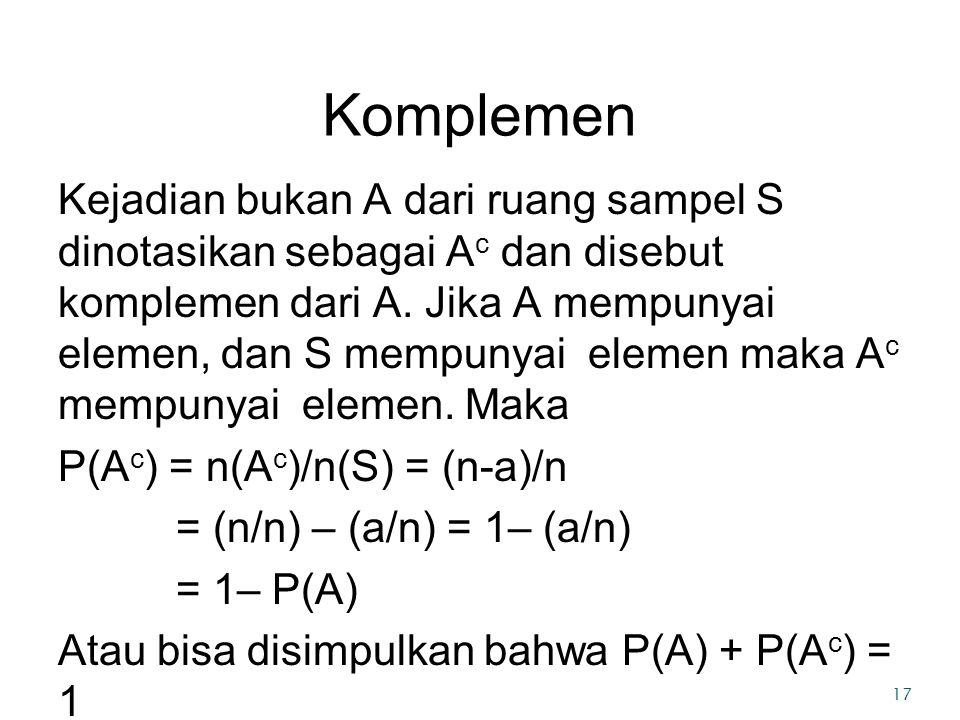 Komplemen Kejadian bukan A dari ruang sampel S dinotasikan sebagai A c dan disebut komplemen dari A.