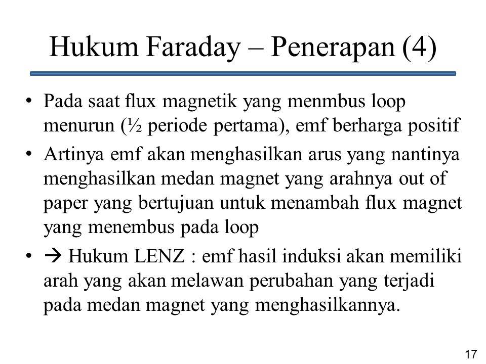 17 Hukum Faraday – Penerapan (4) Pada saat flux magnetik yang menmbus loop menurun (½ periode pertama), emf berharga positif Artinya emf akan menghasi