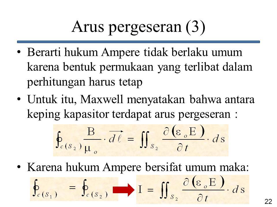 22 Arus pergeseran (3) Berarti hukum Ampere tidak berlaku umum karena bentuk permukaan yang terlibat dalam perhitungan harus tetap Untuk itu, Maxwell