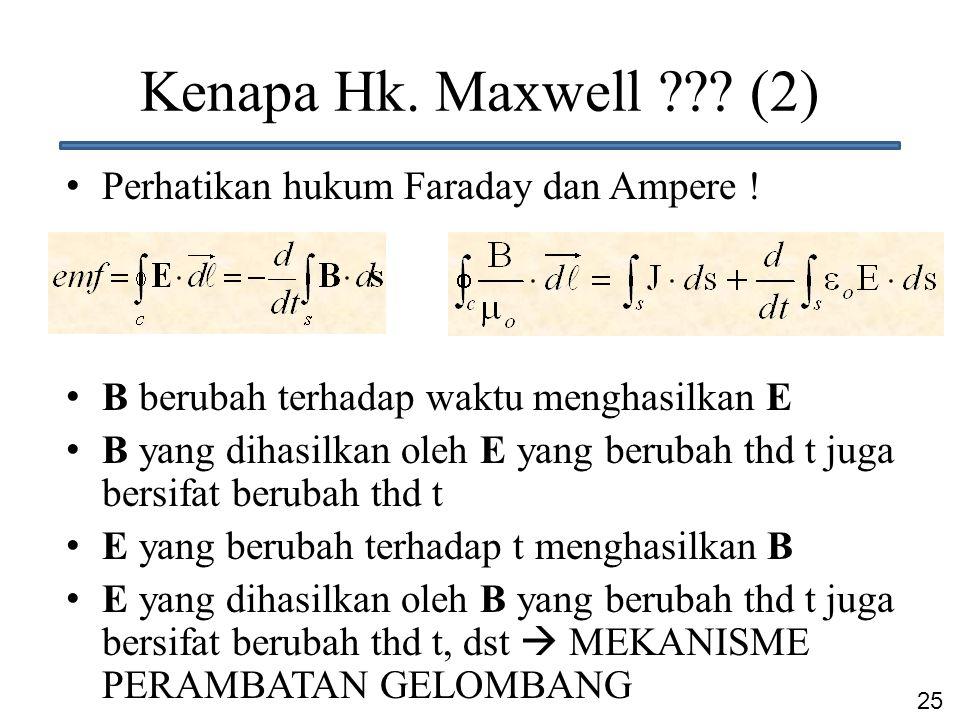 25 Kenapa Hk. Maxwell ??? (2) Perhatikan hukum Faraday dan Ampere ! B berubah terhadap waktu menghasilkan E B yang dihasilkan oleh E yang berubah thd