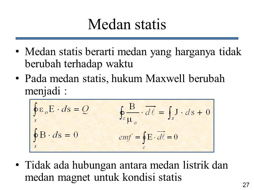 27 Medan statis Medan statis berarti medan yang harganya tidak berubah terhadap waktu Pada medan statis, hukum Maxwell berubah menjadi : Tidak ada hub