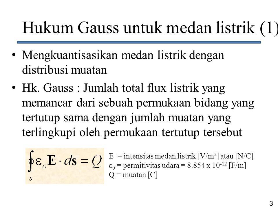 4 Hukum Gauss untuk medan listrik (2) Besaran Q dapat diganti dengan distribusi muatan per volume  v [C/m 3 ], dimana volume dv dilingkupi oleh luas ds Melalui hukum ini perhitungan total flux dari benda bermuatan dilakukan dengan membuat suatu bidang imajinasi yang melingkupi benda tsb  bidang gauss
