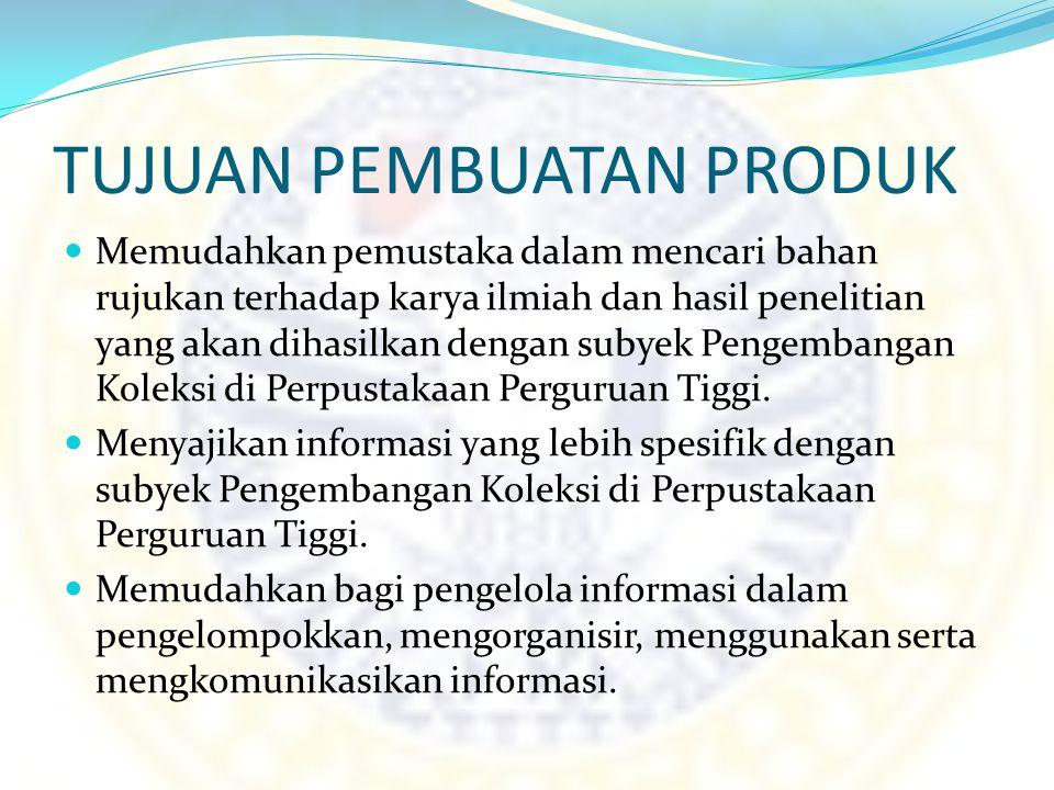 MANFAAT PRODUK Menghasilkan sebuah karya atau produk yang sesuai dengan syarat kelulusan Program Studi Teknisi Perpustakaan, Fakultas Ilmu Sosial dan Politik Universitas Airlangga.