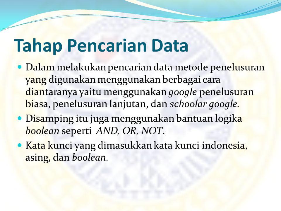 Tahap Pencarian Data Dalam melakukan pencarian data metode penelusuran yang digunakan menggunakan berbagai cara diantaranya yaitu menggunakan google p
