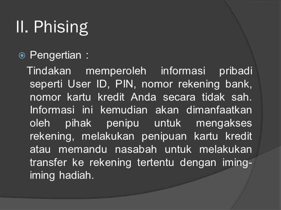 II. Phising  Pengertian : Tindakan memperoleh informasi pribadi seperti User ID, PIN, nomor rekening bank, nomor kartu kredit Anda secara tidak sah.