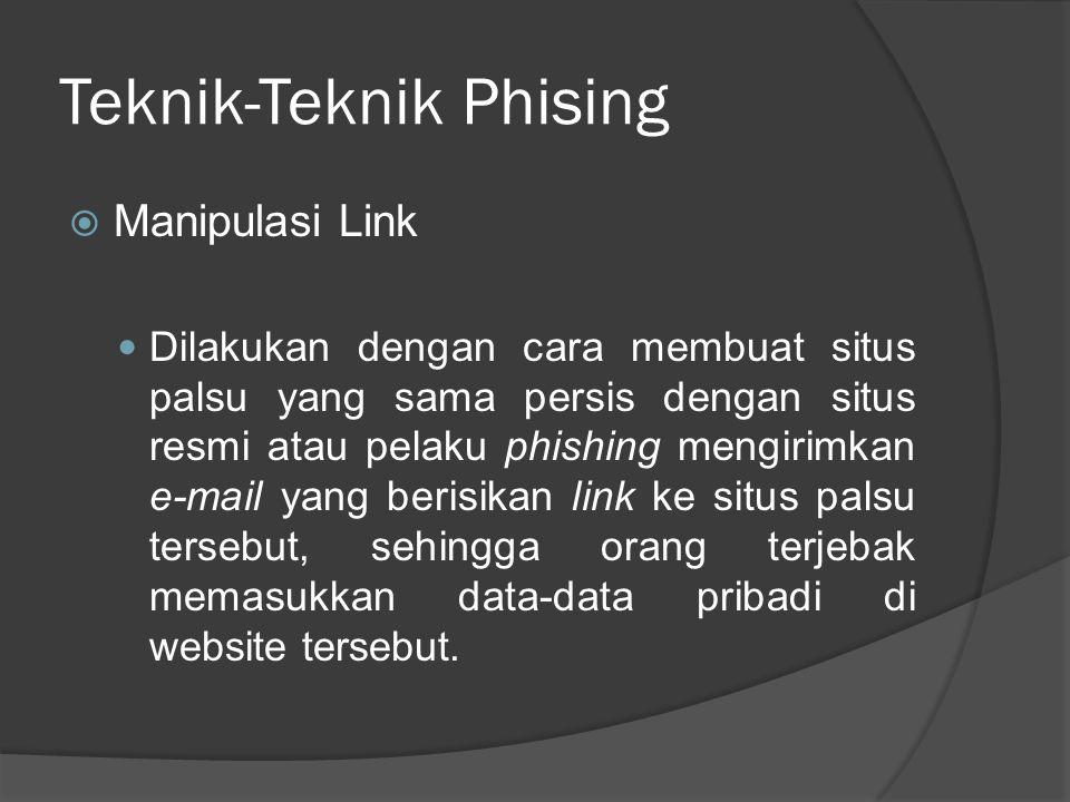 Teknik-Teknik Phising  Manipulasi Link Dilakukan dengan cara membuat situs palsu yang sama persis dengan situs resmi atau pelaku phishing mengirimkan
