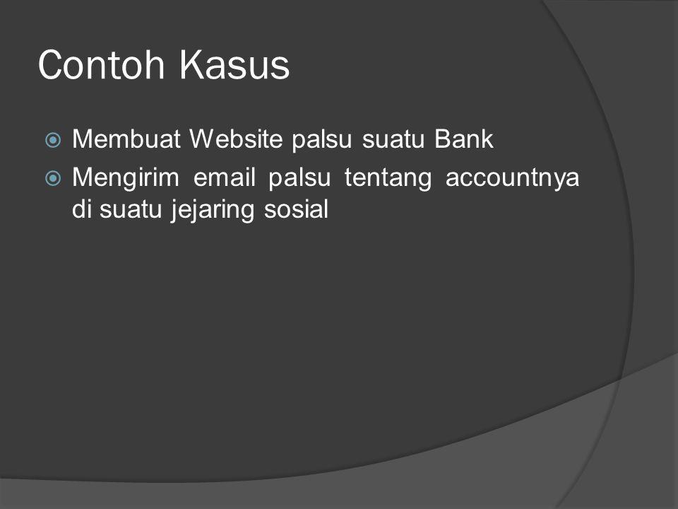 Contoh Kasus di Indonesia Dalam e-mail phising yang di-forward tersebut, tertulis: ----- From: PT Bank Niaga Tbk Date: Feb 3, 2008 8:13 PM Subject: Website Niaga Global Access (NG [at] ) Dalam Perbaikan Membutuhkan Verifikasi Anda Kepada para Pengguna NIAGA Global [at] access, -----