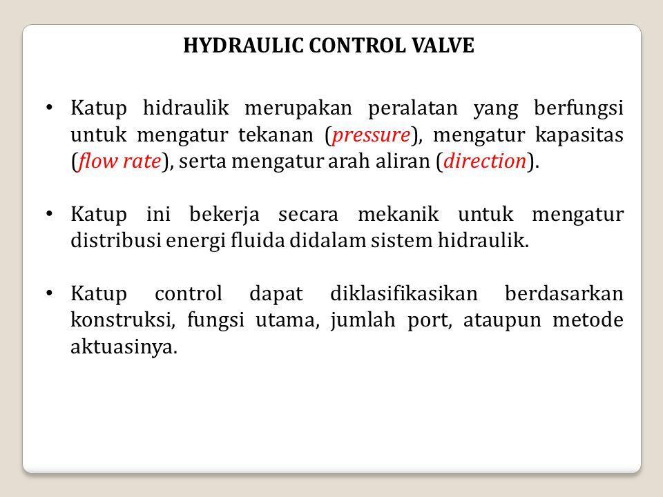 HYDRAULIC CONTROL VALVE Katup hidraulik merupakan peralatan yang berfungsi untuk mengatur tekanan (pressure), mengatur kapasitas (flow rate), serta me