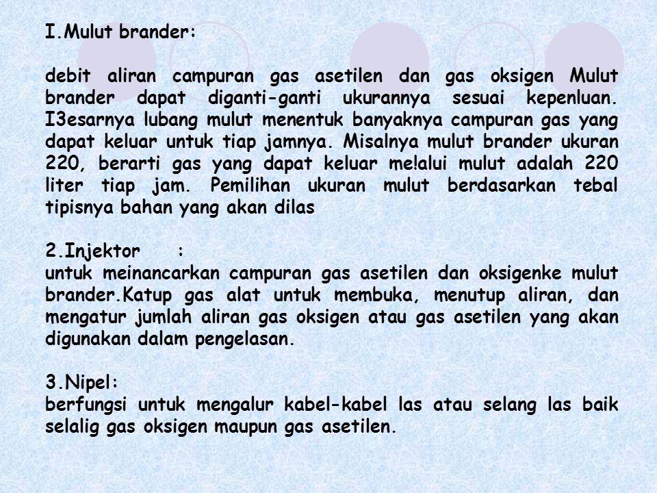 I.Mulut brander: debit aliran campuran gas asetilen dan gas oksigen Mulut brander dapat diganti-ganti ukurannya sesuai kepenluan. I3esarnya lubang mul
