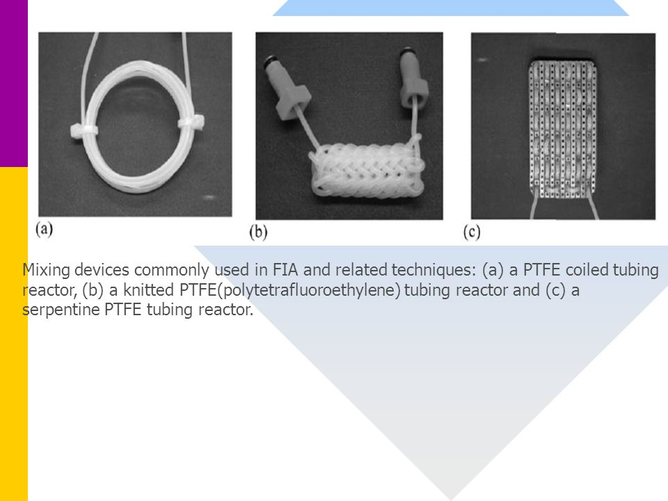 Mixing devices commonly used in FIA and related techniques: (a) a PTFE coiled tubing reactor, (b) a knitted PTFE(polytetrafluoroethylene) tubing react