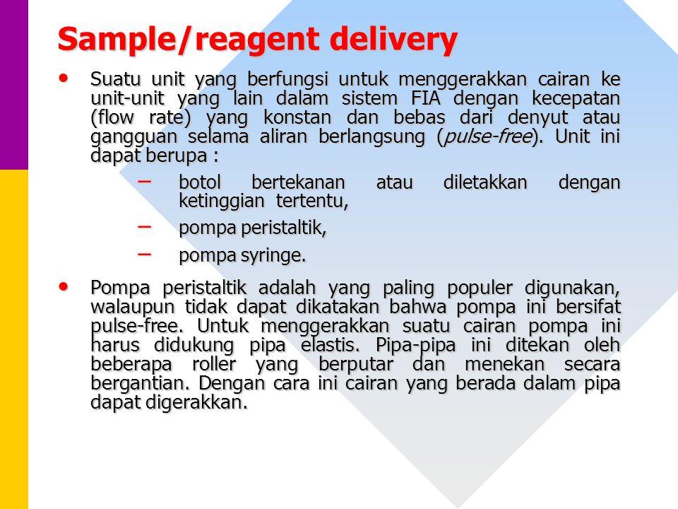 Sample/reagent delivery Suatu unit yang berfungsi untuk menggerakkan cairan ke unit-unit yang lain dalam sistem FIA dengan kecepatan (flow rate) yang