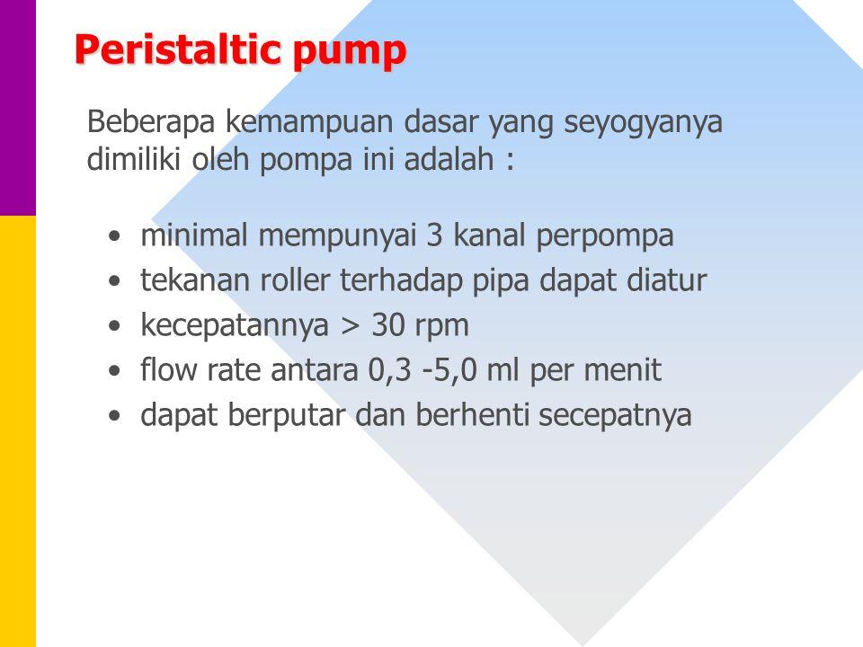 minimal mempunyai 3 kanal perpompa tekanan roller terhadap pipa dapat diatur kecepatannya > 30 rpm flow rate antara 0,3 -5,0 ml per menit dapat berput