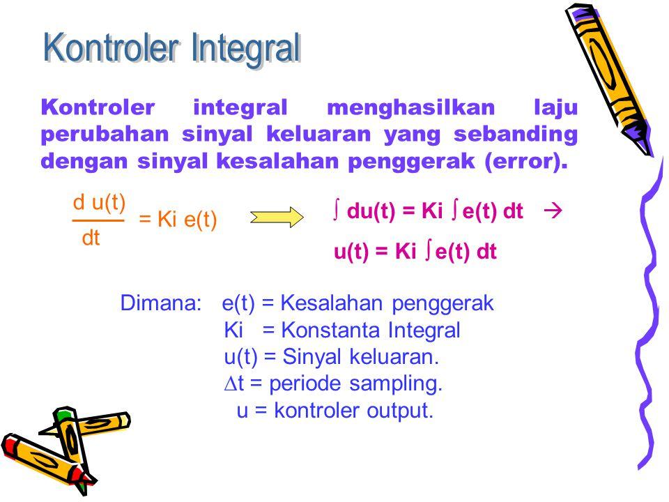 Kontroler integral menghasilkan laju perubahan sinyal keluaran yang sebanding dengan sinyal kesalahan penggerak (error).