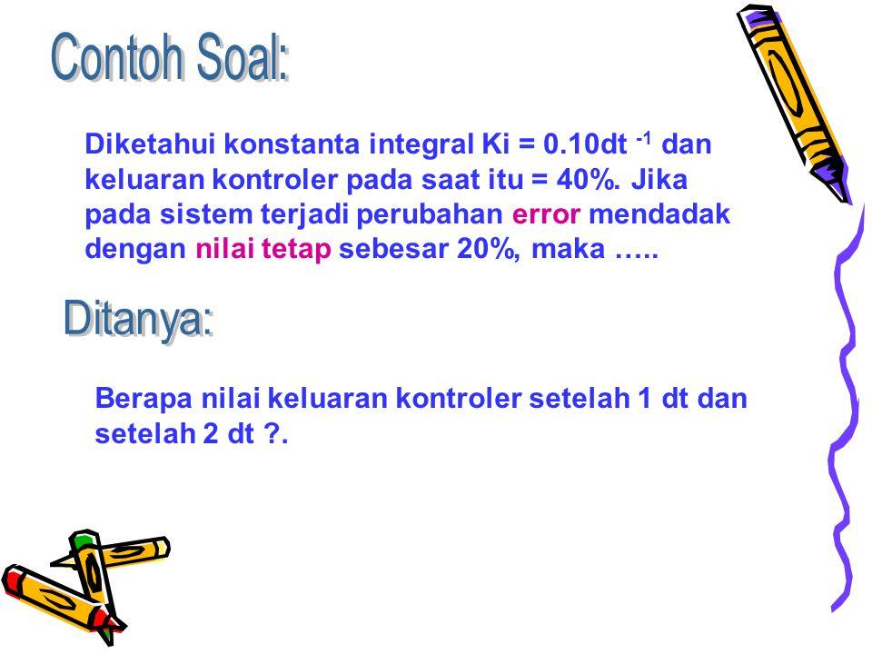 Diketahui konstanta integral Ki = 0.10dt -1 dan keluaran kontroler pada saat itu = 40%.