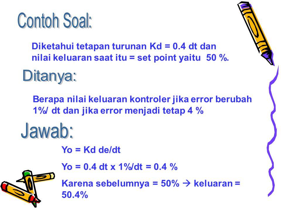 Diketahui tetapan turunan Kd = 0.4 dt dan nilai keluaran saat itu = set point yaitu 50 %.