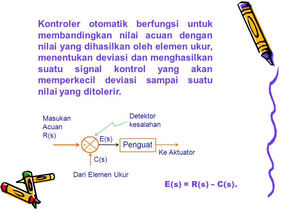 Kontroler otomatik berfungsi untuk membandingkan nilai acuan dengan nilai yang dihasilkan oleh elemen ukur, menentukan deviasi dan menghasilkan suatu signal kontrol yang akan memperkecil deviasi sampai suatu nilai yang ditolerir.