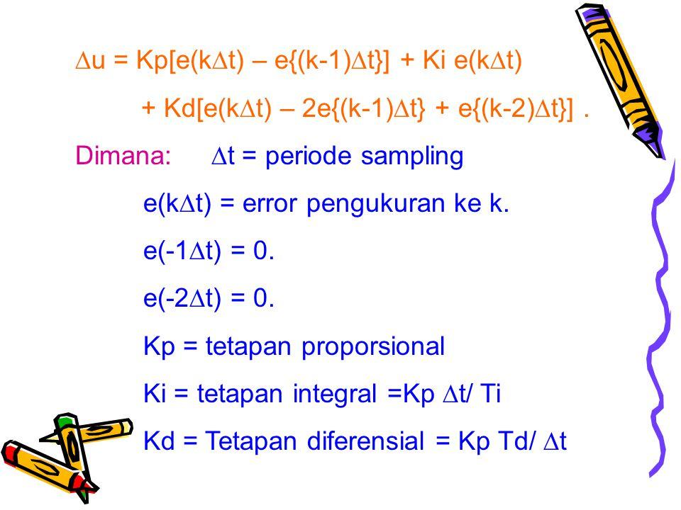 u = Kp[e(k  t) – e{(k-1)  t}] + Ki e(k  t) + Kd[e(k  t) – 2e{(k-1)  t} + e{(k-2)  t}].
