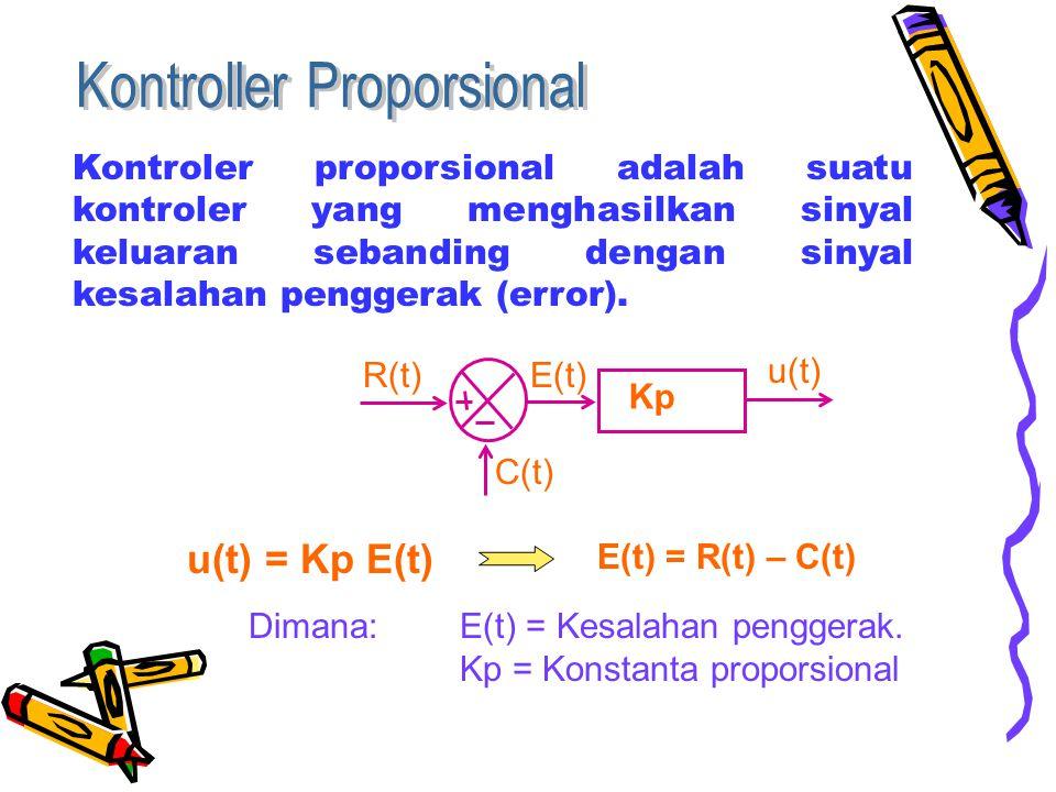 Kontroler proporsional adalah suatu kontroler yang menghasilkan sinyal keluaran sebanding dengan sinyal kesalahan penggerak (error).