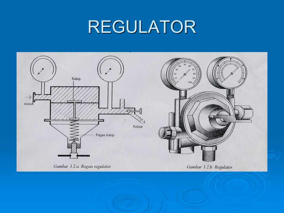 Petunjuk penggunaan regulator 1.Peganglah regulator pada badannya jangan pada manometernya.