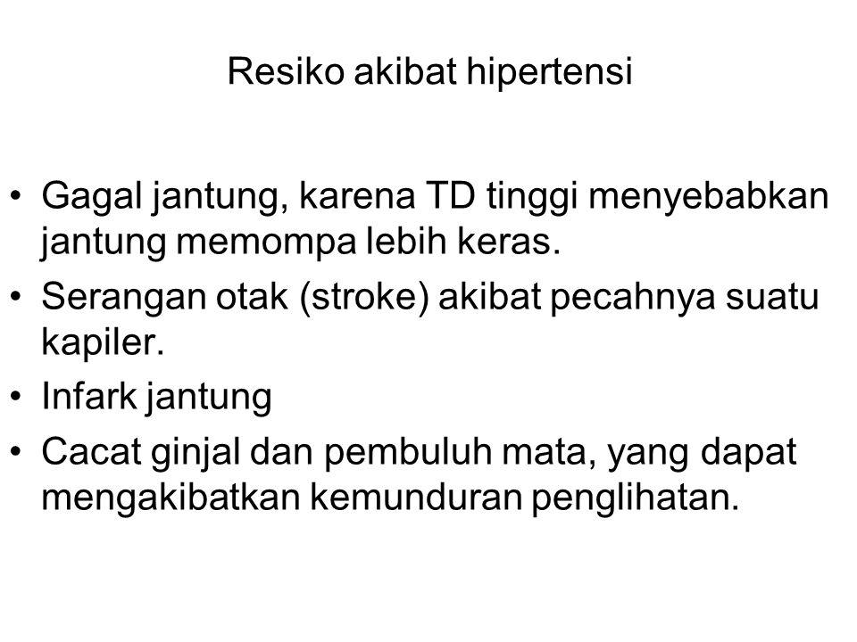 Resiko akibat hipertensi Gagal jantung, karena TD tinggi menyebabkan jantung memompa lebih keras. Serangan otak (stroke) akibat pecahnya suatu kapiler