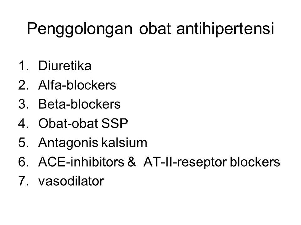 Penggolongan obat antihipertensi 1.Diuretika 2.Alfa-blockers 3.Beta-blockers 4.Obat-obat SSP 5.Antagonis kalsium 6.ACE-inhibitors & AT-II-reseptor blockers 7.vasodilator