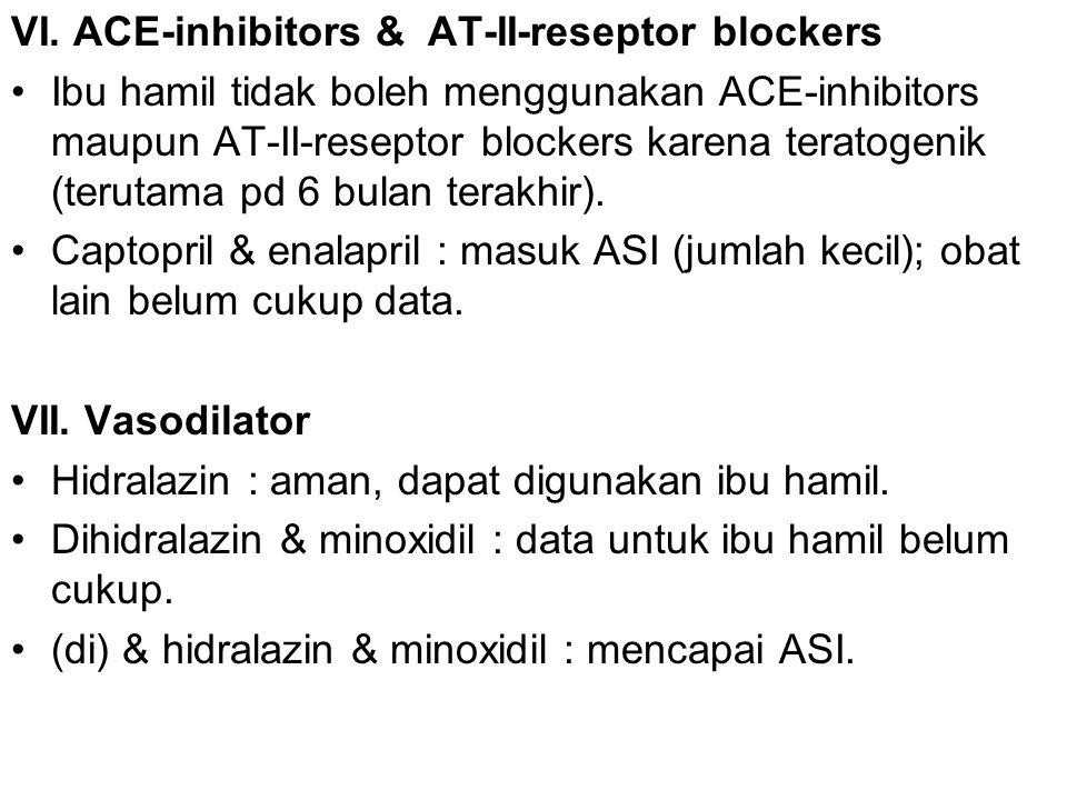 VI. ACE-inhibitors & AT-II-reseptor blockers Ibu hamil tidak boleh menggunakan ACE-inhibitors maupun AT-II-reseptor blockers karena teratogenik (terut