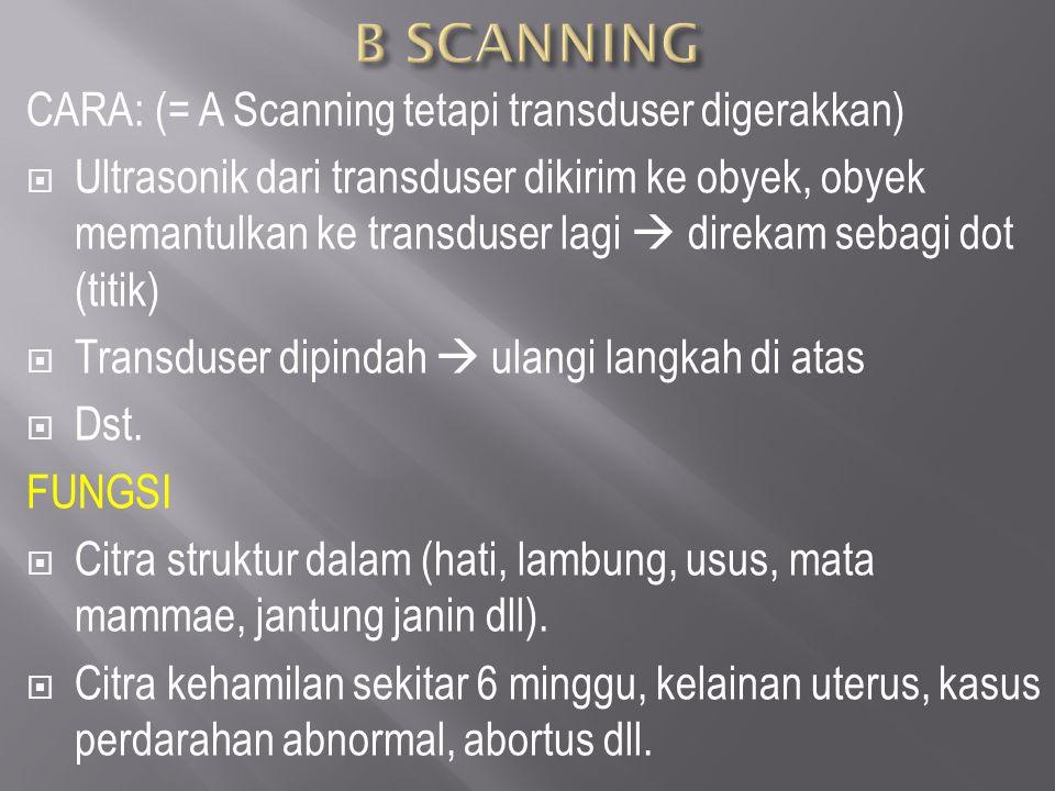 CARA: (= A Scanning tetapi transduser digerakkan)  Ultrasonik dari transduser dikirim ke obyek, obyek memantulkan ke transduser lagi  direkam sebagi