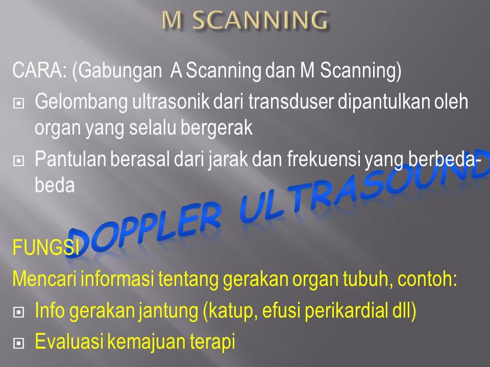 CARA: (Gabungan A Scanning dan M Scanning)  Gelombang ultrasonik dari transduser dipantulkan oleh organ yang selalu bergerak  Pantulan berasal dari