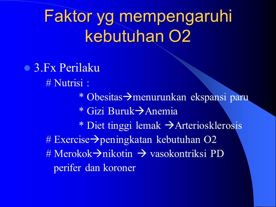 Faktor yg mempengaruhi kebutuhan O2 3.Fx Perilaku # Nutrisi : * Obesitas  menurunkan ekspansi paru * Gizi Buruk  Anemia * Diet tinggi lemak  Arteri