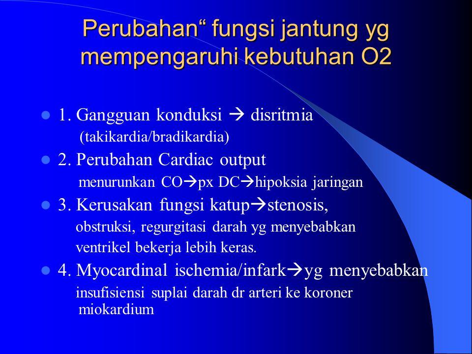 "Perubahan"" fungsi jantung yg mempengaruhi kebutuhan O2 1. Gangguan konduksi  disritmia (takikardia/bradikardia) 2. Perubahan Cardiac output menurunka"