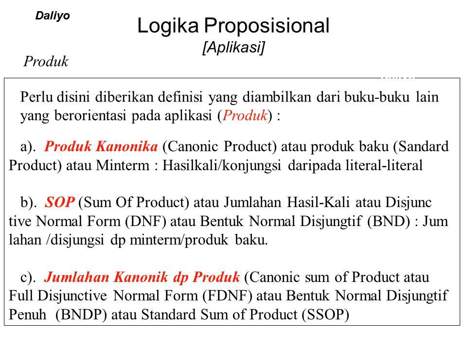Logika Proposisional [Aplikasi] Daliyo a). Produk Kanonika (Canonic Product) atau produk baku (Sandard Product) atau Minterm : Hasilkali/konjungsi dar