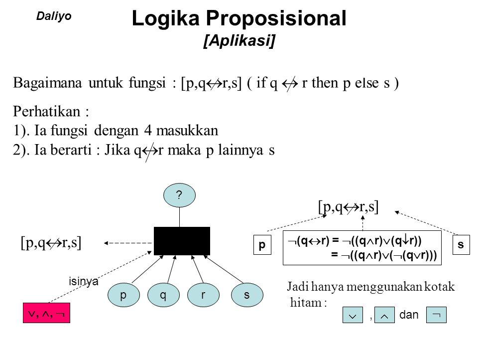 Logika Proposisional [Aplikasi] Daliyo pqrs ? [p,q  r,s]  (q  r) =  ((q  r)  (q  r)) =  ((q  r)  (  (q  r))) ps Jadi hanya menggunakan kot