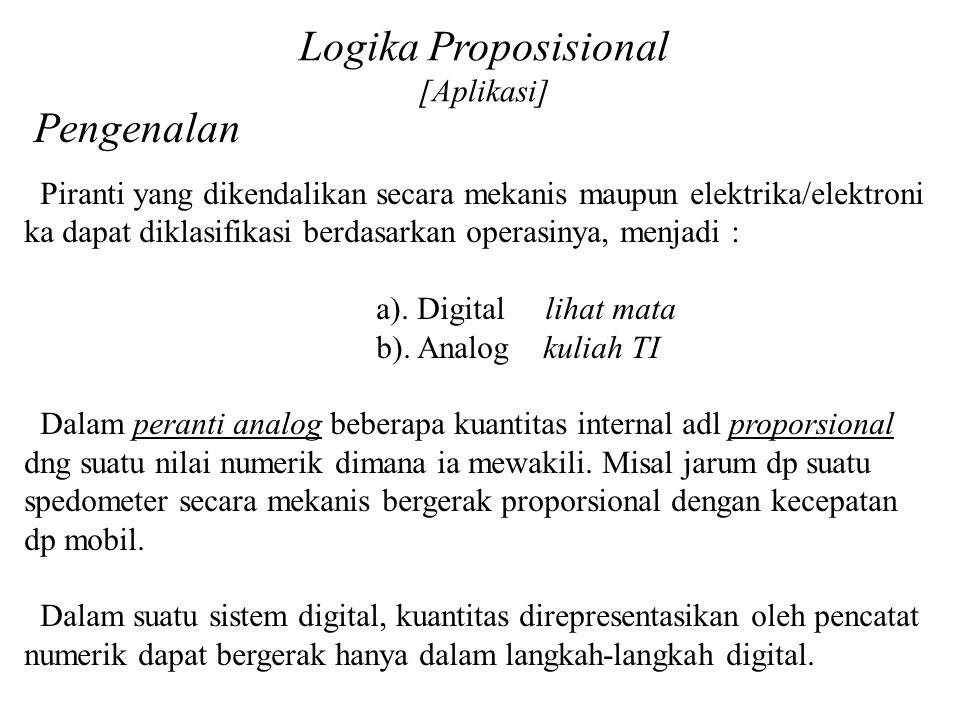 Logika Proposisional [Aplikasi] Pengenalan Piranti yang dikendalikan secara mekanis maupun elektrika/elektroni ka dapat diklasifikasi berdasarkan oper