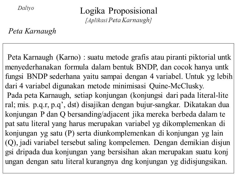 Logika Proposisional [Aplikasi Peta Karnaugh ] Daliyo Peta Karnaugh (Karno) : suatu metode grafis atau piranti piktorial untk menyederhanakan formula