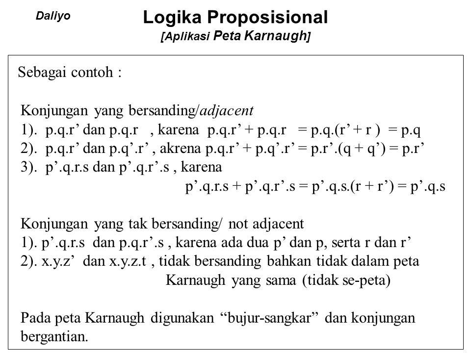 Logika Proposisional [Aplikasi Peta Karnaugh ] Sebagai contoh : Konjungan yang bersanding/adjacent 1). p.q.r' dan p.q.r, karena p.q.r' + p.q.r = p.q.(