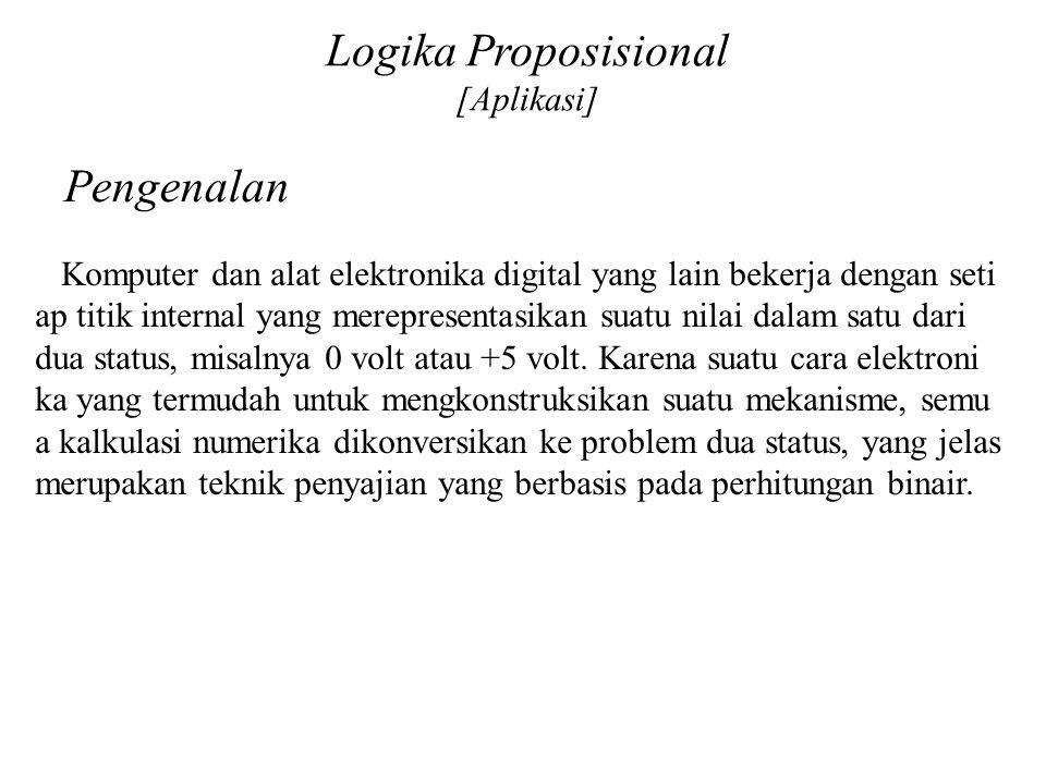Logika Proposisional [Aplikasi] Pengenalan Komputer dan alat elektronika digital yang lain bekerja dengan seti ap titik internal yang merepresentasika