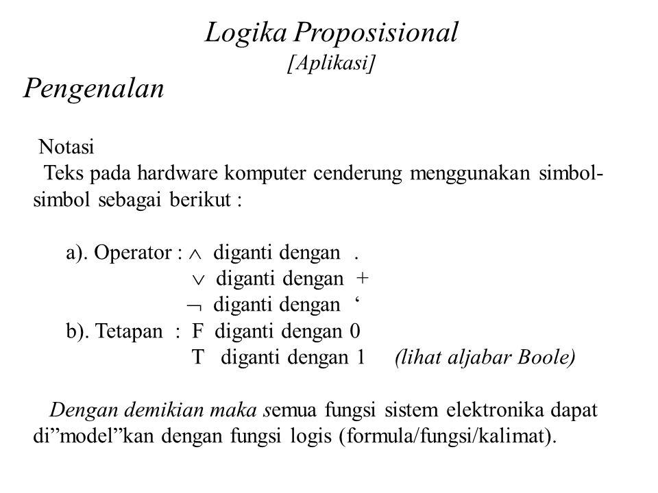 Daliyo Logika Proposisional [Aplikasi] Pengenalan Notasi Teks pada hardware komputer cenderung menggunakan simbol- simbol sebagai berikut : a). Operat