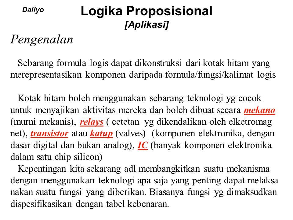Logika Proposisional [Aplikasi] Daliyo Sebarang formula logis dapat dikonstruksi dari kotak hitam yang merepresentasikan komponen daripada formula/fun