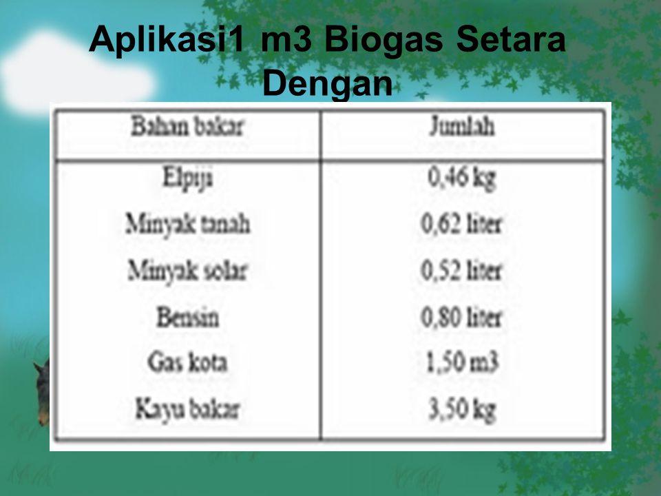 Aplikasi1 m3 Biogas Setara Dengan