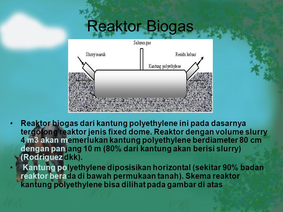 Reaktor Biogas Reaktor biogas dari kantung polyethylene ini pada dasarnya tergolong reaktor jenis fixed dome. Reaktor dengan volume slurry 4 m3 akan m