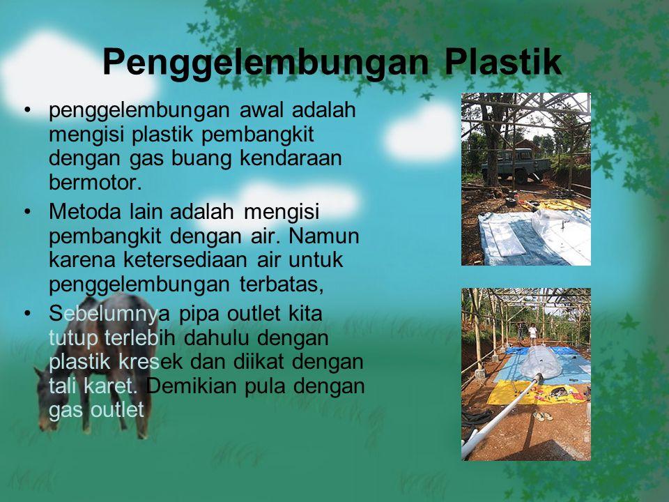 Penggelembungan Plastik penggelembungan awal adalah mengisi plastik pembangkit dengan gas buang kendaraan bermotor. Metoda lain adalah mengisi pembang
